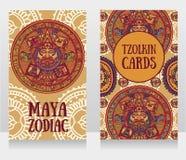 Baner med dekorativ Mayan zodiak Arkivbilder
