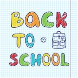 Baner med den hand drog inskriften tillbaka till skolan och klotterryggsäcken Royaltyfria Bilder