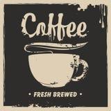 Baner med en kopp av varmt kaffe och en färgstänk royaltyfri illustrationer