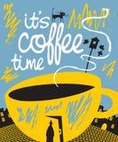 Baner med en kopp kaffe i en dörr och en passerby stock illustrationer