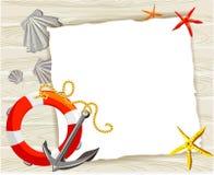 Baner med ett ankare, en boj och skal på en träbakgrund stock illustrationer