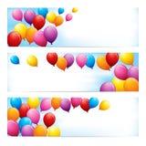 Baner med färgglade ballonger vektor illustrationer