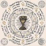 Baner med gralen och esoteriska och frimurar- symboler royaltyfri illustrationer