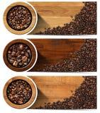 Baner med grillade kaffebönor Royaltyfria Bilder