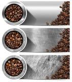Baner med grillade kaffebönor Royaltyfri Bild