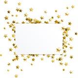 Baner med guld- konfettistjärnor stock illustrationer