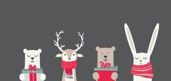 Baner med gulliga vinterdjur med gåvor och halsdukar Glad jul och lyckligt nytt år vektor illustrationer