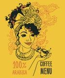 Baner med härliga afrikansk amerikankvinna- och kaffekoppar Royaltyfria Foton