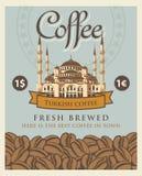 Baner med kaffebönor och Istanbul Hagia Sophia Royaltyfria Foton