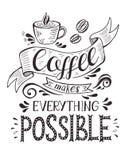 Baner med kaffekoppen och citationstecken royaltyfri illustrationer
