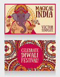 Baner med Lord Ganesha och den etniska prydnaden Fotografering för Bildbyråer