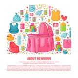 Baner med modellen för barndom` s Nyfödd personal för att dekorera reklamblad Planlägg mallar för kortet, inbjudan med kläder royaltyfri illustrationer