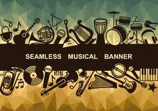 Baner med musikinstrument vektor illustrationer