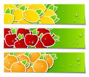 Baner med nya frukter vektor illustrationer