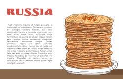 Baner med pannkakor med den röda kaviaren på tabellen, inskriften Ryssland och stället för text Arkivfoton