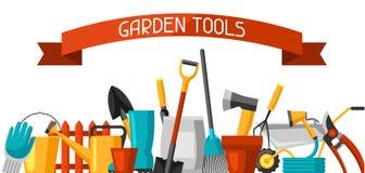 Baner med trädgårds- hjälpmedel och symboler Alla för att arbeta i trädgården affärsillustrationen stock illustrationer