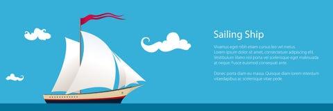 Baner med yachten på havet stock illustrationer
