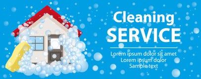 Baner och affischen för rengörande service Huset i skum på en blå bakgrund vektor royaltyfri illustrationer