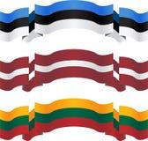 Baner och flaggor av baltiska stater Royaltyfria Bilder