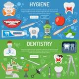 Baner och infographics för tand- service Royaltyfria Foton
