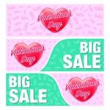 Baner och reklamblad för valentin dag Royaltyfria Bilder