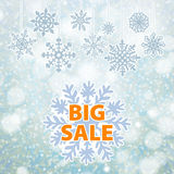 Baner och snö för vinterförsäljningsbakgrund Jul nytt år vektor Royaltyfri Fotografi