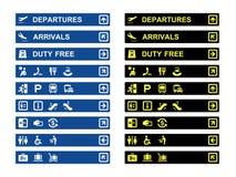 Baner och symboler för flygplatsterminal Arkivfoto