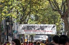 Baner på självständighetsdagen i Barcelona, Spanien Fotografering för Bildbyråer