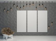 Baner på väggen med en stol Arkivbild
