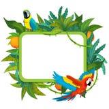 Baner - ram - gräns - tema för djungelsafari - illustration för barnen Royaltyfria Bilder