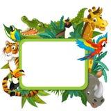 Baner - ram - gräns - tema för djungelsafari - illustration för barnen Arkivfoton