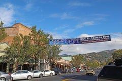 Baner som annonserar vagga av ålderfestivalen på Lincoln Street ( royaltyfri bild