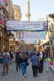 Baner som stöttar den aktuella egyptiska presidenten Abdel-Fattah El-Sisi för ett andra uttryck för presidentvalen, Kairo, Egypte Royaltyfri Foto