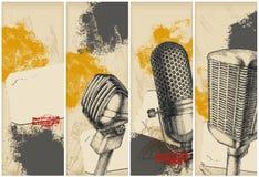 baner som tecknar mikrofonen Arkivfoto
