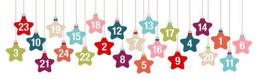 BanerAdvent Calendar Hanging Stars Retro färg royaltyfri illustrationer