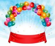 Banerbakgrund för lycklig födelsedag stock illustrationer