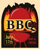 BanerBBQ-parti med grillfester och brand royaltyfri illustrationer