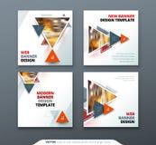 Banerdesign Det fyrkantiga abstrakta vektorbanret med triangeln formar för rengöringsdukmall royaltyfri illustrationer