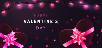 Banerdesign på purpurfärgad mörk bakgrund för valentindag Hälsningkort med realistiska girlander, hjärta-formade gåvaaskar och at stock illustrationer