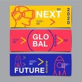 Banerdesignmall, framtid, affär, mallorienteringsdesign, räkningsbok färgrik vektor, infographic Arkivbilder