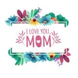 Banerdesignmall I lome dig, mamma med blom- garnering Ram med dekoren av blommor, sidor, ris vektor illustrationer
