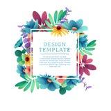Banerdesignmall med blom- garnering Den fyrkantiga ramen med dekoren av blommor, sidor, ris inbjudan vektor illustrationer