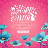 Banerdesignmallen med blått blommar garnering för vårpåsk Inbjudan för easter ferie med logo och kanin vektor illustrationer