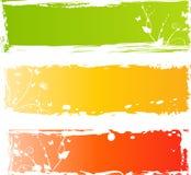 banerflorals grungy mångfärgade tre Fotografering för Bildbyråer