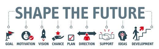 Banerform framtiden - söka efter framtid och gör plan vektor illustrationer