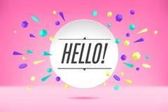 Banerhälsningar Affisch, anförandebubbla och geometrisk stil för klistermärkebegrepp med text Hello Samtal för symbolsmeddelandem royaltyfri illustrationer