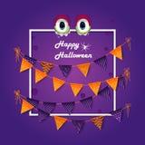 banerhalloween deltagare Folieballongguld och lilor, ram som bunting Purpurfärgad bakgrund Arkivbild