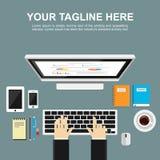 Banerillustration Plana designillustrationbegrepp för att övervaka, analys, arbete, ledning, finans, arbete, affär, Arkivfoton