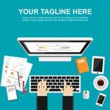 Banerillustration Plana designillustrationbegrepp för att övervaka, analys, arbete, ledning, finans, arbete, affär Royaltyfria Foton