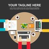 Banerillustration Plana designillustrationbegrepp för möte Arkivfoton
